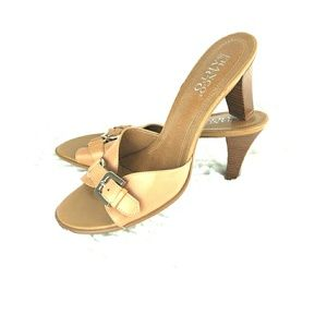 Franco Sarto Buckle Tan Heel Slide Sandal Sz 8B